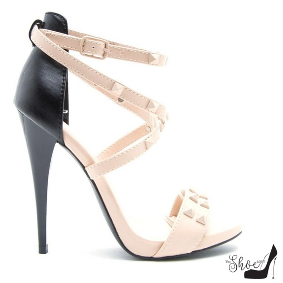 The Shoe Loft Shoes - Greyson Nude and Black Strappy Studded Heels